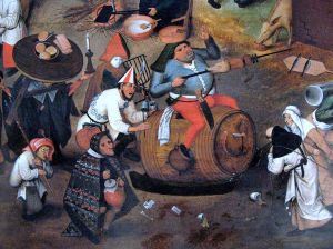 Detail from Battle of Carnival and Lent, oil painting  by Pieter Brueghel the Younger