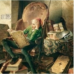 Don Quixote in the Library by Adolf Schrödter 1834 PD|100yrs via Wikimedia Commons