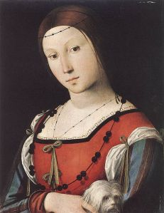 Lorenzo Costa (1460–1535) Portrait of a Lady with a Lap-dog PD|100