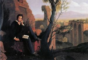 Shelley writing, posthumous portrait by Joseph Severn 1845