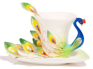 peacock tea cup - useless but I like it!